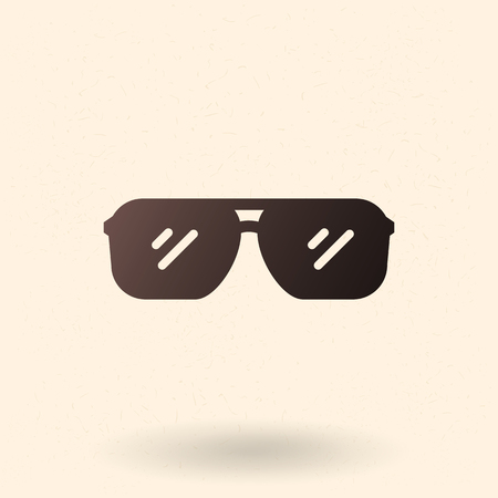 Vector Single Black Silhouette Icon - Aviator Style Sunglasses Ilustração
