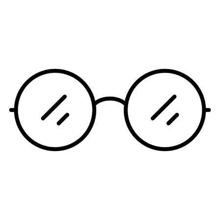 Vector Single Black Outline Icon - Round Eyeglasses Vectores