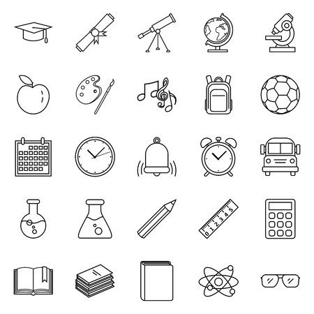 Vector Set of Black Outline Education Symbols. Back to School Icons.