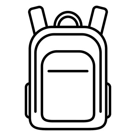 Vector Black Outline Icon - School Bag. Plain Backpack.