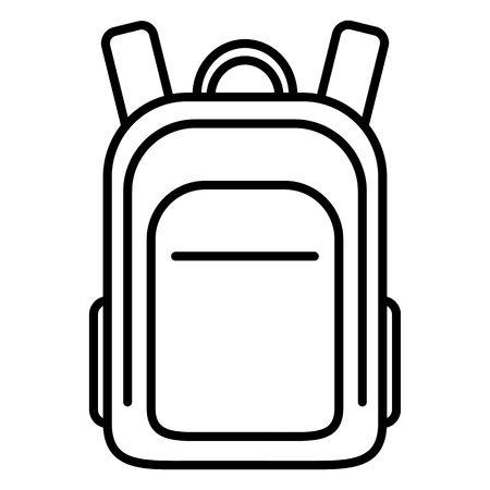 Wektor czarny kontur ikona - tornister. Zwykły plecak.