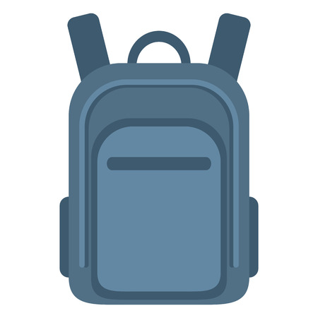 Vector Color Flat Icon - Blue School Bag. Plain Backpack.