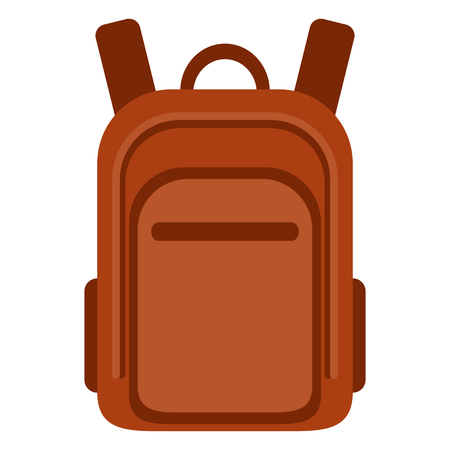Vector Color Flat Icon - Red School Bag. Plain Backpack.