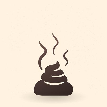 Icône de silhouette noire unique de vecteur - le morceau de merde