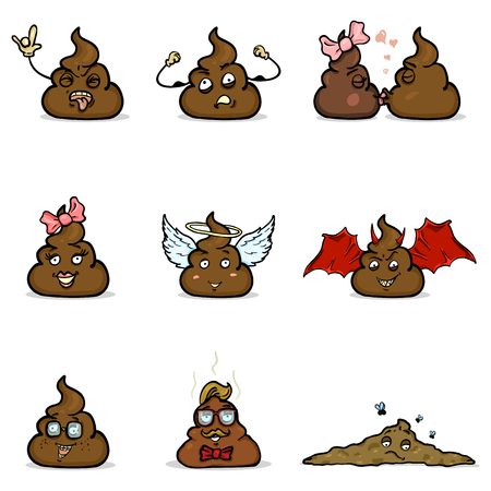 Vector Set of Cartoon Shit Characters. Turd Emoticon Collection Illustration