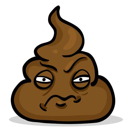 Personnage de dessin animé de vecteur - morceau de merde en colère Vecteurs