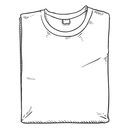 Vector Single Sketch Illustration - Folded T Shirt Vektoros illusztráció