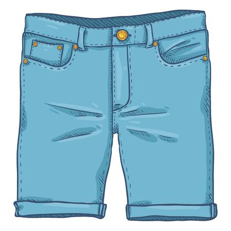 Singolo fumetto illustrazione vettoriale - Pantaloncini jeans denim blu