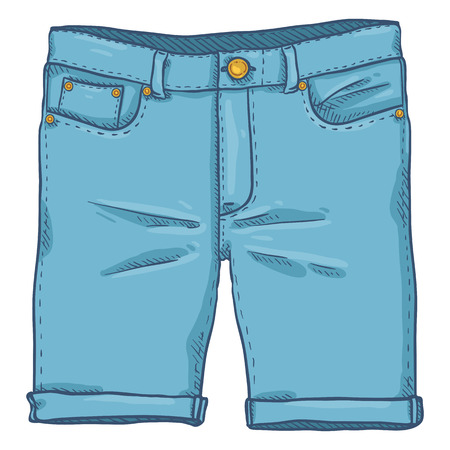 Vector Single Cartoon Illustration - Blue Denim Jeans Shorts