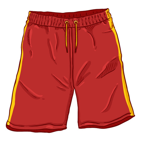 Illustrazione del fumetto di vettore - pantaloncini da basket rossi con strisce gialle e lacci. Vettoriali