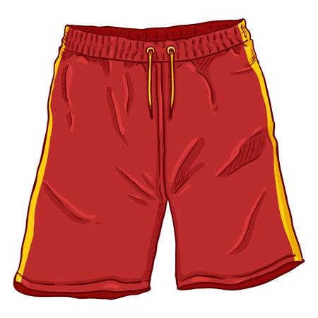 Vektor-Cartoon-Illustration - rote Basketball-Shorts mit gelben Streifen und Schnürsenkeln. Vektorgrafik