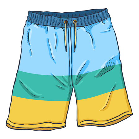 Vector Cartoon Illustration - Beach Colorful Swimming Shorts
