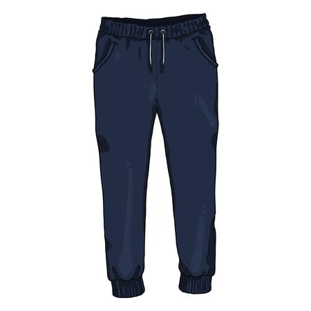 Vector Single Cartoon Illustration - Dark Blue Training Pants