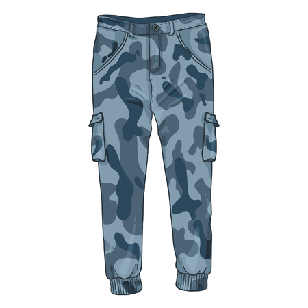 Vector Single Cartoon Illustration - Blue Camouflage Cargo Pants on White Background