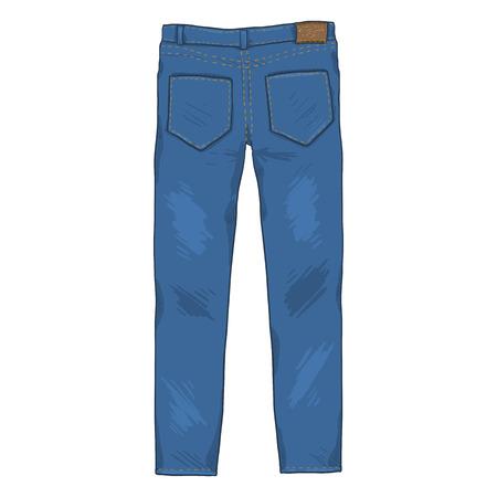 Vector ilustración de dibujos animados único - pantalones vaqueros de mezclilla. Vista trasera.