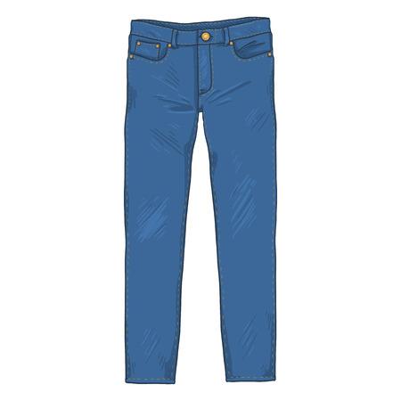 Singolo fumetto di vettore - pantaloni jeans denim. Vista frontale.