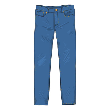 Vector Single Cartoon Illustration - Denim Jeans Pants. Front View. Stockfoto - 110070829