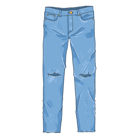 Vector Single Cartoon Illustration - Ripped Denim Jeans Pants