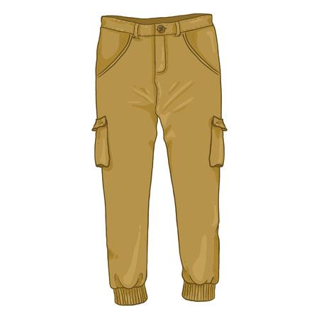 Vector ilustración de dibujos animados individual - pantalones jogger de color marrón claro