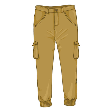 Vector Single Cartoon Illustration - Light Brown Jogger Pants 写真素材 - 111849292