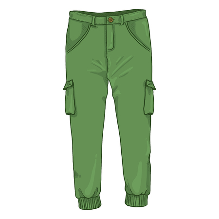 Vector Single Cartoon Illustration - Green Jogger Trousers on White Background 矢量图像