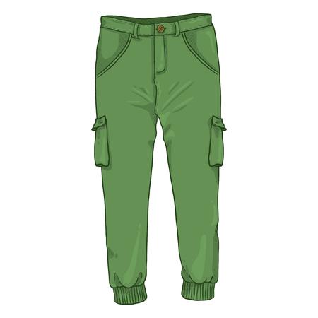 Wektor ilustracja kreskówka pojedyncza - zielone spodnie jogger na białym tle