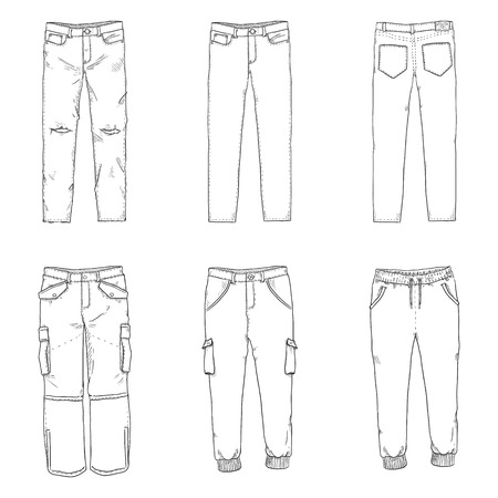 Vector Set of Line Sketch Illustrations - Pants and Trousers Collection.