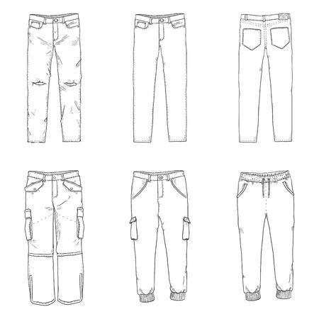 Vector conjunto de ilustraciones de dibujo de línea - pantalones y colección de pantalones.