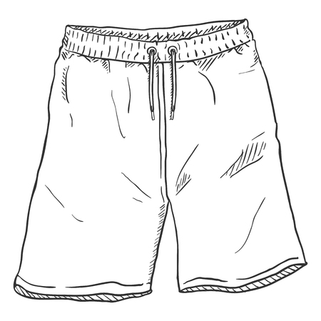 Illustrazione vettoriale singolo schizzo - pantaloncini da allenamento su sfondo bianco Vettoriali