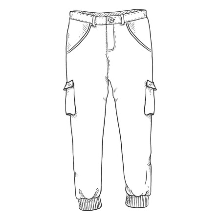Vector Single Sketch Illustration - Jogger Pants on White Background