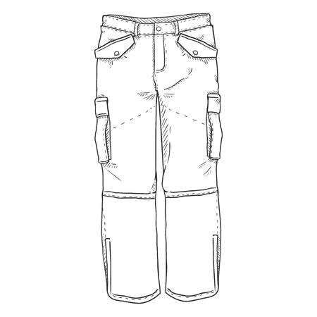 Ilustracja wektorowa pojedynczy szkic - zimowe spodnie narciarskie na białym tle