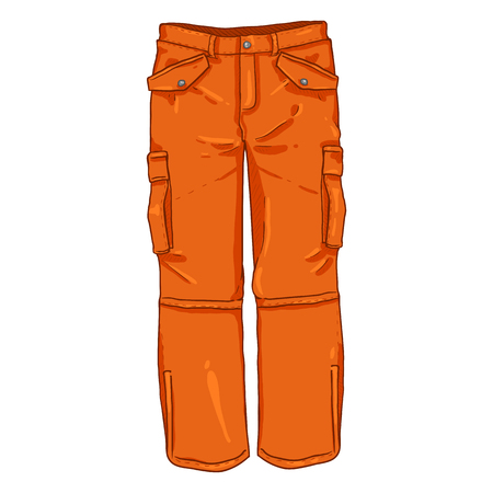 Vector Cartoon Illustration - Winter Orange Hiking Trousers Illustration