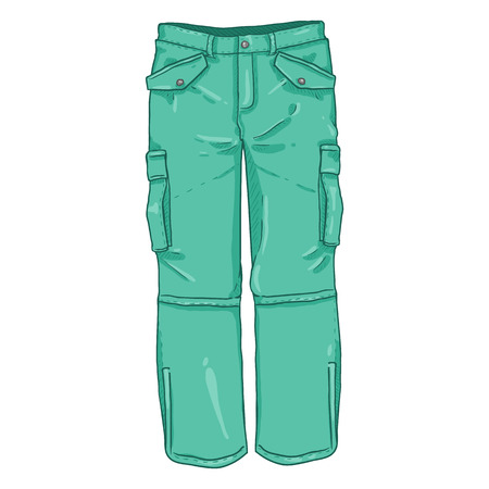 Vector Cartoon Illustration -Turquoise Winter Hiking Trousers 矢量图像