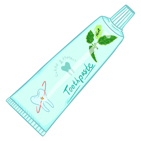 Vector Cartoon Color Illustration - Tube of Toothpaste