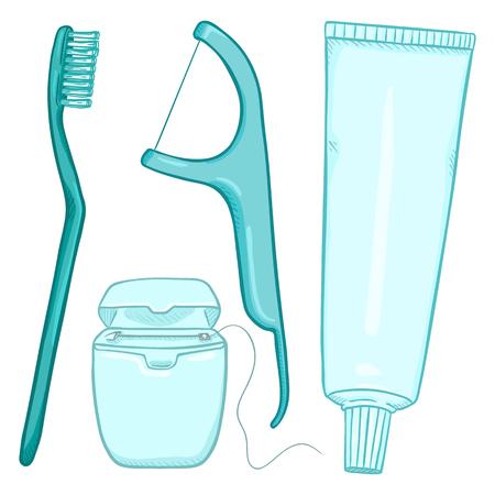 Vector Set of Cartoon Tooth Brushing Items. Tooth Brush, Dental Floss, Dentifrice. Illustration