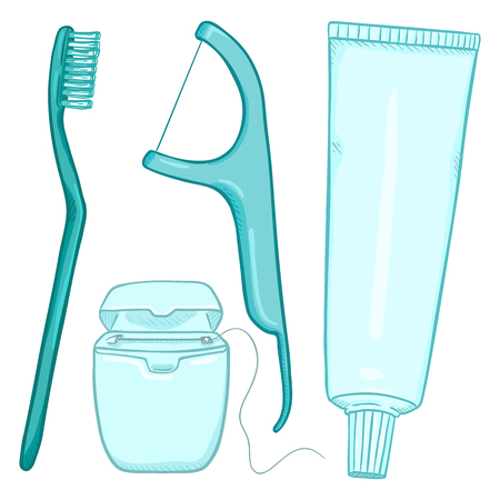 Vector Set of Cartoon Tooth Brushing Items. Tooth Brush, Dental Floss, Dentifrice. Illustration