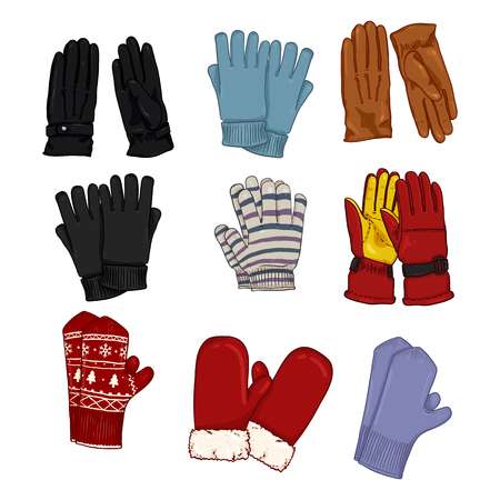 Vector Set of Cartoon Color Illustrations - Gloves and Mittens