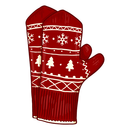 Vector Cartoon Illustration - Red Knitted Mittens with Christmas Ornament