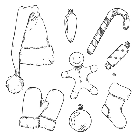 Vector Set of Black Sketch Christmas Symbols. Clothes and Decorations. Vector Illustration