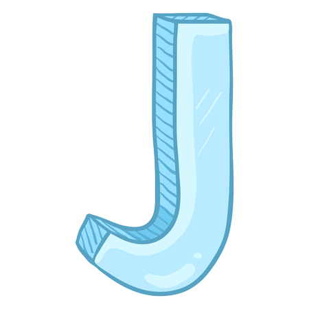 Vector Single Cartoon Illustration - Ice Blue Letter J Vectores