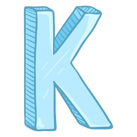 Vector Single Cartoon Illustration - Ice Blue Letter K Ilustrace