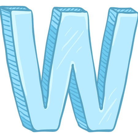 Vector Single Cartoon Illustration - Ice Blue Letter W