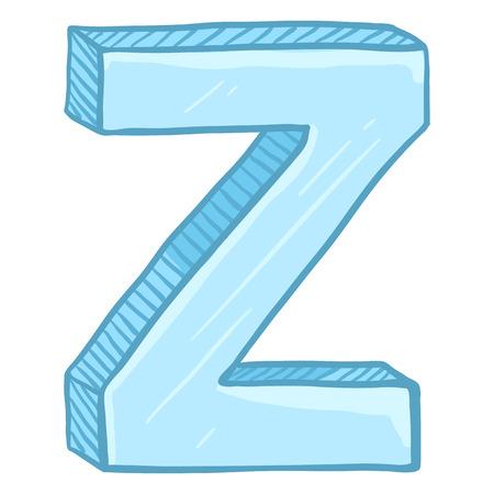 Vector Single Cartoon Illustration - Ice Blue Letter Z Иллюстрация