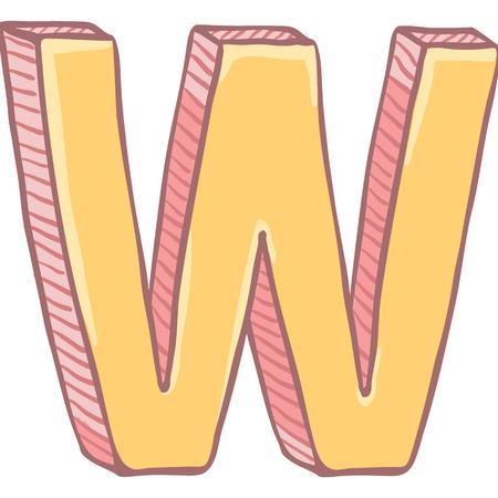 Vector Single Cartoon Illustration - The Letter W