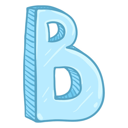 Vector Single Cartoon Illustration - Ice Blue Letter B