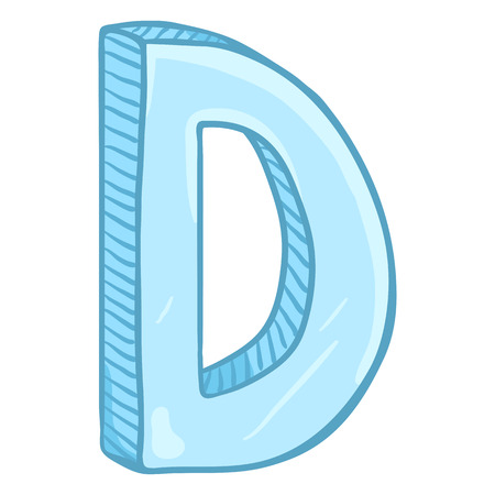 Vector Single Cartoon Illustration - Ice Blue Letter D