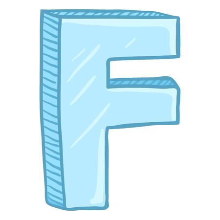 Vector Single Cartoon Illustration - Ice Blue Letter F