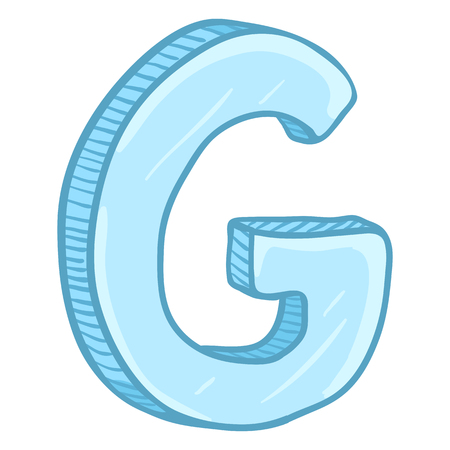 Vector Single Cartoon Illustration - Ice Blue Letter G Иллюстрация
