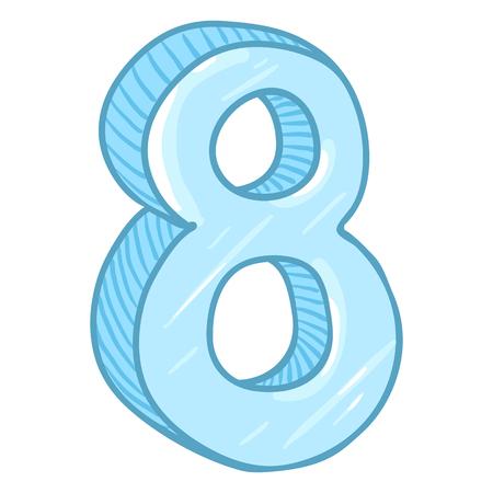 Vector Cartoon Illustration - Number Eight. The Figure of 8. Illustration