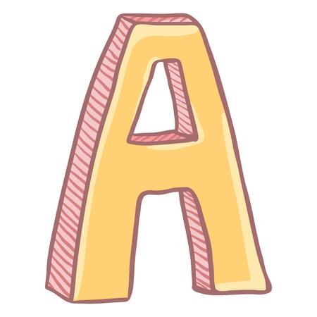 Vector Single Cartoon Illustration - The Letter A
